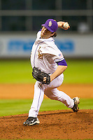 LSU Tigers pitcher Alden Cartwright (32) delivers a pitch to the plate during the NCAA baseball game against the Houston Cougars on March 6, 2015 at Minute Maid Park in Houston, Texas. LSU defeated Houston 4-2. (Andrew Woolley/Four Seam Images)