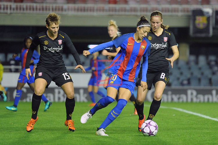 UEFA Women's Champions League 2016/2017.<br /> Round of 16 - First Leg<br /> FC Barcelona vs Twente: 1-0.<br /> Erman, Jennifer Hermoso &amp; Onzia.