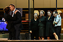 "London, UK. 16.03.2017. Toneelgroep Amsterdam presents<br /> ""Roman Tragedies"", a seamless interpretation of William Shakespeare's ""Coriolanus"", Julius Caesar"" and ""Anthony and Cleopatra"", in the Barbican Theatre. The Barbican first introduced Toneelgroep Amsterdam to UK audiences in 2009 with this same production. Picture shows: Antony & Cleopatra - Chris Nietvelt (Cleopatra), Hans Kesting (Marcus Antonius), Friede Pittoors (Iras), Janni Goslinga (Diomedes), Marieke Heebink (Charmian), Eelco Smits (Ventidius). Photograph © Jane Hobson."