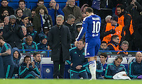 Chelsea Manager Jose Mourinho does not look impressed as Eden Hazard of Chelsea is substituted during the UEFA Champions League group G match between Chelsea and FC Porto at Stamford Bridge, London, England on 9 December 2015. Photo by Andy Rowland.