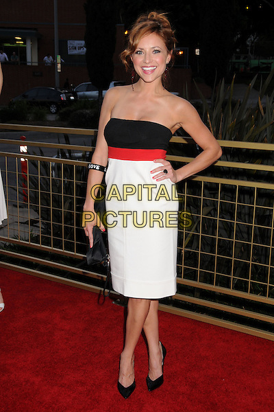 CHRISTINE LAKIN.LG Electronics Launches the Scarlet HD TV Series at the Pacific Design Center, West Hollywood, California, USA..April 28th, 2008.full length white black red strapless hand on hip dress clutch bag .CAP/ADM/BP.©Byron Purvis/AdMedia/Capital Pictures.