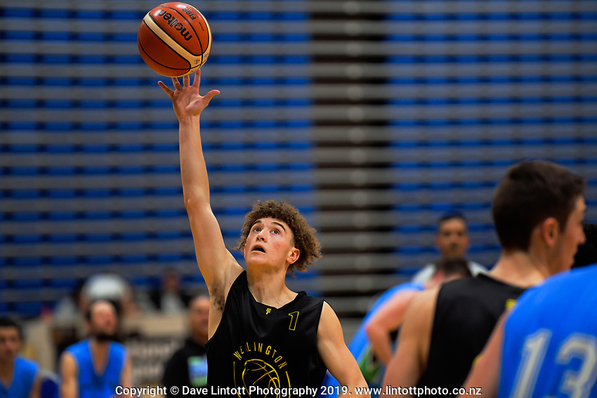 Action from the National Under-23 Basketball Championships Tournament men's match between Hutt Valley Wellington and Waikato Country Blue at Te Rauparaha Arena in Porirua, New Zealand on Friday, 9 August 2019. Photo: Dave Lintott / lintottphoto.co.nz