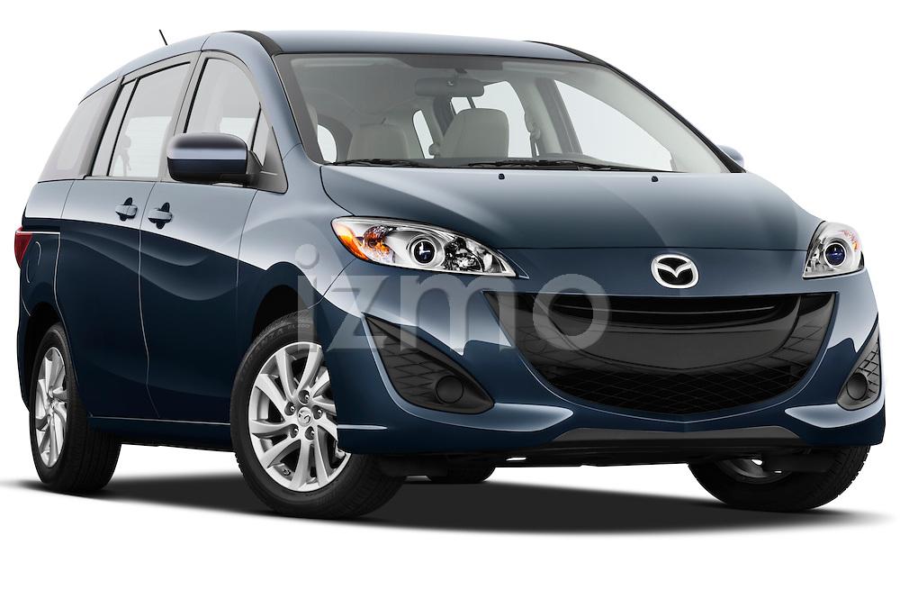Low aggressive passenger side front three quarter view of a 2012 Mazda Mazda5 .