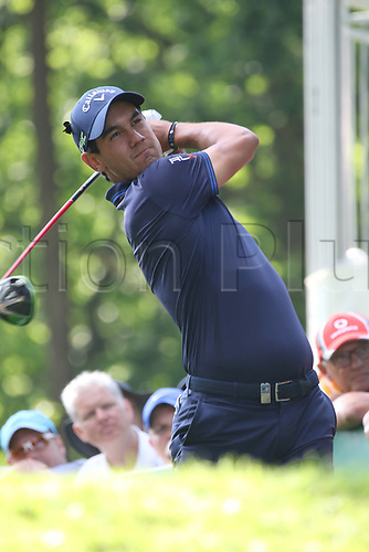 May 25th 2017, Virginia Water, Wentworth, Surrey, England; BMW PGA Championship golf, day 1; Matteo Manassero of Italy drives on the 17th