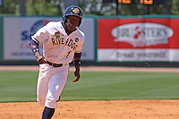 DeAngelo Mack #11 of the Charleston RiverDogs running the bases during a game against the Rome Braves on April 27, 2010 in Charleston, SC.