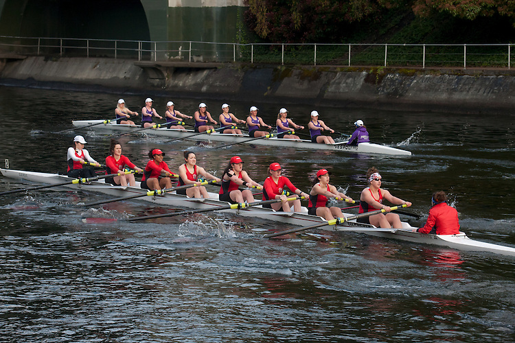 Rowing, Seattle, The Husky Open, April 4 2015, rowing regatta, Montlake Cut, University of Portland, Seattle University, (foreground), Womens Varsity eight, College W V8, crew, Washington State,