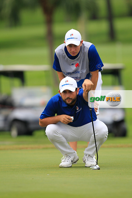 Alexander Levy (Europe) on the 1st green during the Singles Matches of the Eurasia Cup at Glenmarie Golf and Country Club on the Sunday 14th January 2018.<br /> Picture:  Thos Caffrey / www.golffile.ie