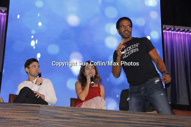 Joyce Becker's Soap Opera Festival brings actors from Young and Restless - Robert Adamson - Amelia Heinle - Kristoff St. John on stage on September 26, 2015 to Caesers Horseshoe Casino in Baltimore, Maryland for a Q&A with fans with a drawing for lucky fans to meet the actors for autographs and photos.  (Photo by Sue Coflin/Max Photos)
