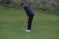 Thomas Higgins (Roscommon) on the 12th green during Round 2 of the Ulster Boys Championship at Portrush Golf Club, Portrush, Co. Antrim on the Valley course on Wednesday 31st Oct 2018.<br /> Picture:  Thos Caffrey / www.golffile.ie<br /> <br /> All photo usage must carry mandatory copyright credit (&copy; Golffile | Thos Caffrey)