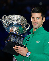 January 2, 2020: 2nd seed NOVAK DJOKOVIC (SRB) kisses the Australian Open trophy after defeating 5th seed DOMINIC THIEM (AUT) on Rod Laver Arena in the Men's Singles Final match on day 14 of the Australian Open 2020 in Melbourne, Australia. Photo Sydney Low