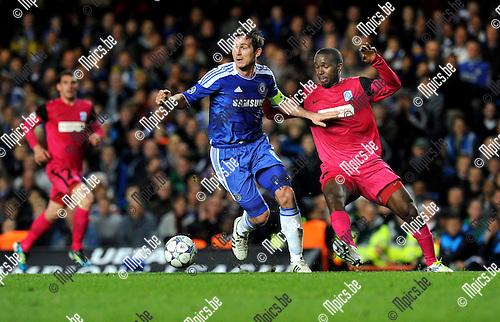 2011-10-19 / Voetbal / seizoen 2011-2012 / UEFA CHAMPIONS LEAGUE GROUP STAGE: CHELSEA FC - KRC GENK / Frank Lampard (l, Chlsea) met Khaleem Hyland..Foto: Mpics