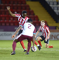 Lincoln City U18's Jordan Adebayo-Smith scores his side's second goal<br /> <br /> Photographer Andrew Vaughan/CameraSport<br /> <br /> The FA Youth Cup Second Round - Lincoln City U18 v South Shields U18 - Tuesday 13th November 2018 - Sincil Bank - Lincoln<br />  <br /> World Copyright © 2018 CameraSport. All rights reserved. 43 Linden Ave. Countesthorpe. Leicester. England. LE8 5PG - Tel: +44 (0) 116 277 4147 - admin@camerasport.com - www.camerasport.com