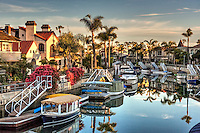 Naples Canals, Alamitos Bay, islands, Belmont Shore, Long Beach, CA, Luxury, Houses, Lit, Christmas Lights, Xmas, Decorations, Blue Sky, Water Reflections, Boats Docked, Duffys. Palm Trees, Night, Beautiful, Magic Hour, Fantastic