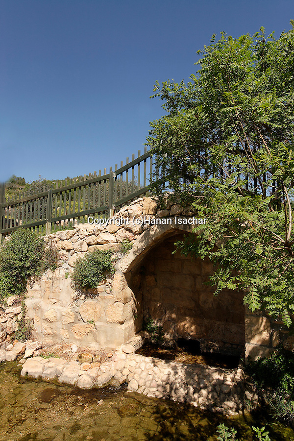 Israel, Jerusalem Mountains. Ein Tzuba (Tzuba spring) at the foothill of Mount Tzuba