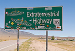 One of the two remaining highway signs for Nevada's Extraterrestrial Highway 375 near the town of Rachel, Nev.