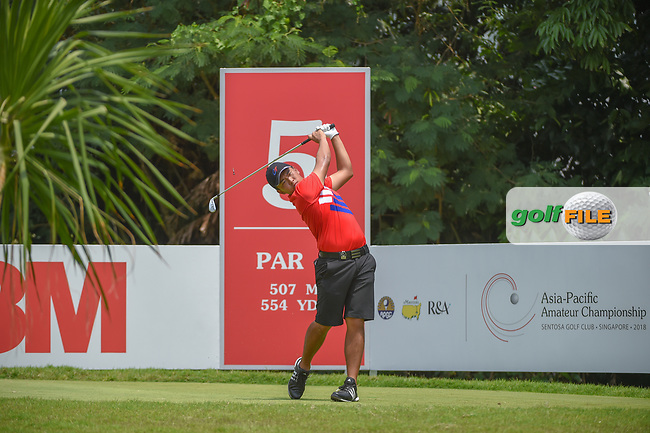 Chun-An YU (TPE) watches his tee shot on 5 during Rd 2 of the Asia-Pacific Amateur Championship, Sentosa Golf Club, Singapore. 10/5/2018.<br /> Picture: Golffile | Ken Murray<br /> <br /> <br /> All photo usage must carry mandatory copyright credit (© Golffile | Ken Murray)