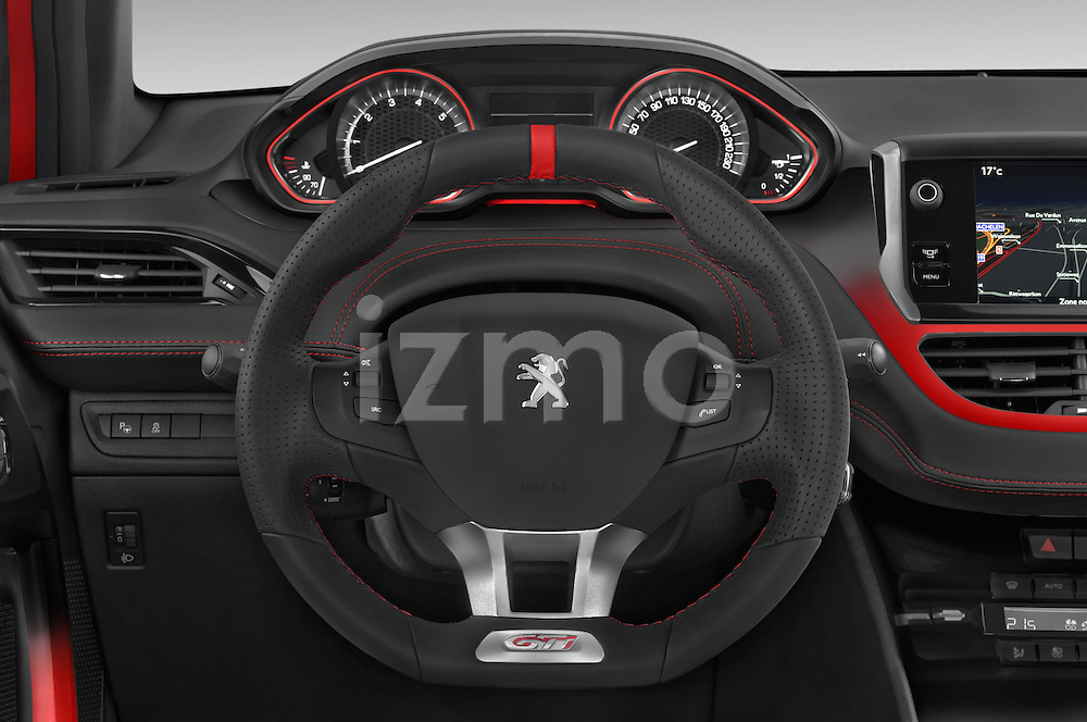 Car pictures of steering wheel view of a 2014 Peugeot 208 GTI 3 Door Hatchback 2WD Steering Wheel