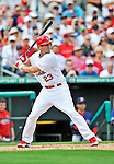 8 March 2012: St. Louis Cardinals' infielder David Freese in action during a Spring Training game against the Boston Red Sox at Roger Dean Stadium in Jupiter, Florida. The Cardinals defeated the Red Sox 9-3 in Grapefruit League action. Mandatory Credit: Ed Wolfstein Photo