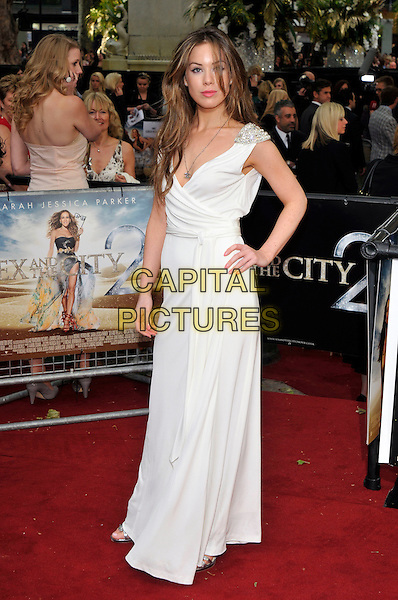 "ROXANNE McKEE.Attending the ""Sex And The City 2"" UK film premiere, Odeon Leicester Square, London, England, UK..May 27th 2010.arrivals full length white maxi dress beaded shoulders sleeveless hand on hip.CAP/PL.©Phil Loftus/Capital Pictures."