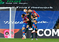 29th June 2020; Selhurst Park, London, England; English Premier League Football, Crystal Palace versus Burnley Football Club; Gary Cahill of Crystal Palace jumps over Ben Mee, Matej Vydra and Scott Dann of Crystal Palace to head the ball out