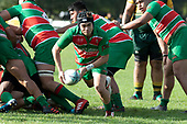 Ronan Lawrence clears the ball from a ruck on the Waiuku tryline. Counties Manukau Premier Club rugby game between Pukekohe and Waiuku, played at Colin Lawrie Fields, Pukekohe on Saturday April 14th, 2018. Pukekohe won the game 35 - 19 after leading 9 - 7 at halftime.<br /> Pukekohe Mitre 10 Mega -Joshua Baverstock, Sione Fifita 3 tries, Cody White 3 conversions, Cody White 3 penalties.<br /> Waiuku Brian James Contracting - Lemeki Tulele, Nathan Millar, Tevta Halafihi tries,  Christian Walker 2 conversions.<br /> Photo by Richard Spranger