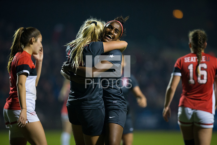 STANFORD, CA - November 9, 2018: Civana Kuhlmann, Naomi Girma at Laird Q. Cagan Stadium. The top seeded Stanford Cardinal defeated the Seattle Redhawks 3-0 in the opening round of the NCAA tournament.