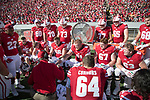 Wisconsin Badgers offensive coordinator Joe Rudolph talks to his players during an NCAA Big Ten Conference football game against the Maryland Terrapins Saturday, October 21, 2017, in Madison, Wis. The Badgers won 38-13. (Photo by David Stluka)