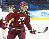 Quinn Smith (BC - 27) - The Boston College Eagles practiced on Wednesday, April 4, 2012, during the 2012 Frozen Four at the Tampa Bay Times Forum in Tampa, Florida.
