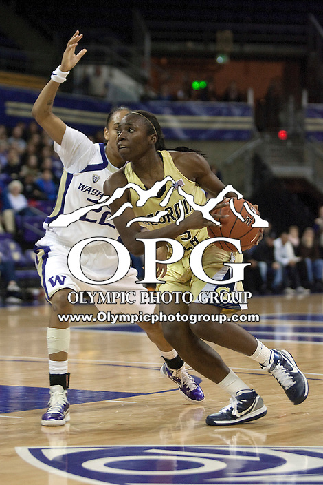 December 23, 2010:  Georgia Tech guard #15 Tyaunna Marshall drives to the basket against Washington.  Georgia Tech defeated Washington 60-27 at the Bank of America Arena in Seattle, WA.