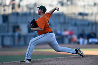 Pitcher D.J. Myers (35) of the Augusta GreenJackets delivers a pitch in a game against the Columbia Fireflieon Sunday, July 30, 2017, at Spirit Communications Park in Columbia, South Carolina. Augusta won, 6-0. (Tom Priddy/Four Seam Images)
