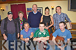 Henry Keogh, Patrick Browne, MJ McMahon. Back row: Mike, Liz Mulcahy, Cormac Mahony, Marie Louise Bowe and Martin O'Connor playing a session in the Half Barrell during the Padraig O'Keeffe festival in Castleisland on Monday .