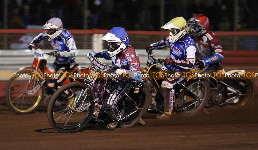Heat 8: Robert Mear (blue), Linus Eklof (yellow), Kim Nilsson (red) and Ricky Kling (white) - Lakeside Hammers vs Poole Pirates, Elite League Speedway Play-Off Semi-Final 1st leg at the Arena Essex Raceway, Pufleet - 24/09/12 - MANDATORY CREDIT: Rob Newell/TGSPHOTO - Self billing applies where appropriate - 0845 094 6026 - contact@tgsphoto.co.uk - NO UNPAID USE.