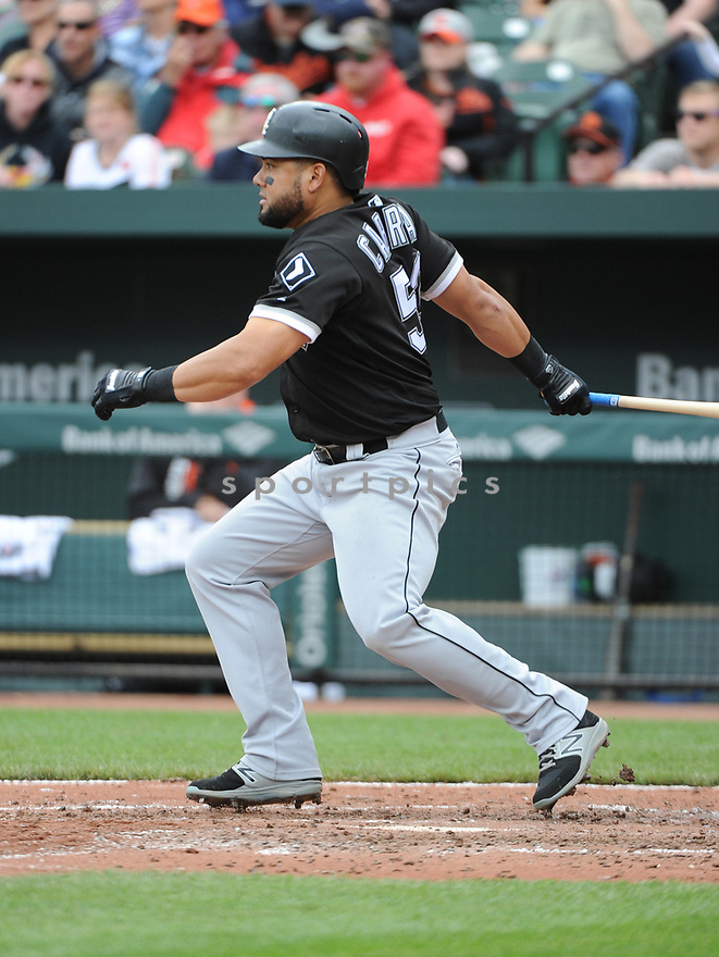 BALTIMORE, MD - May 7, 2017:  Melky Cabrera #53 of the Chicago White Sox during a game against the Baltimore Orioles on May 7, 2017 at Oriole Park at Camden Yards in Baltimore, MD. The Orioles beat the White Sox 4-0.(Chris Bernacchi/ SportPics)
