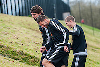 Tuesday 19 April 2016<br /> Pictured: Alberto Paloschi of Swansea City , Angel Rangel of Swansea City  and Alex Gogic of Swansea City  <br /> Re: Swansea City Training Session ahead of the away game against Leicester City FC