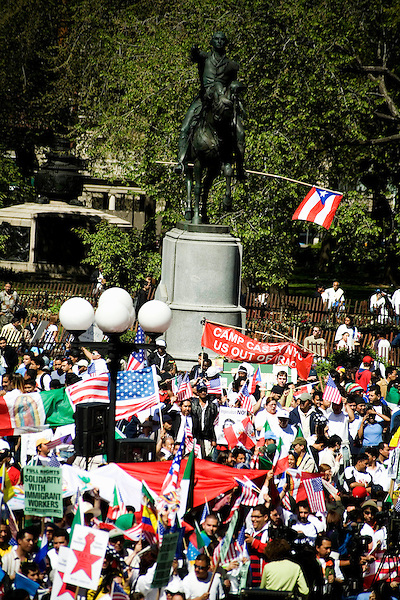 "Thousands of immigrants and their supporters rallied around the city today in solidarity, marking the ""Day Without Immigrants"" celebrations nationwide. Walkouts, strikes and rallies were stages to show support for the legalization of undocumented workers.. Rally in Union Square in Manhattan.<br />"