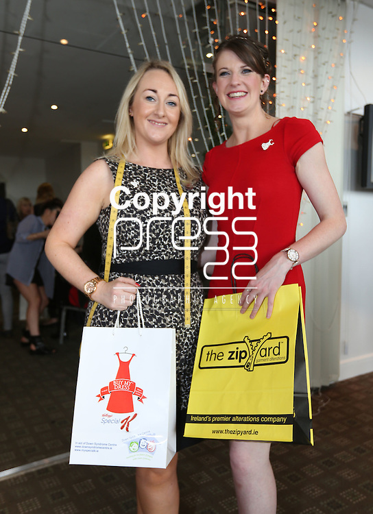25/5/2014  (with compliments)  The Buy My Dress campaign took place on Sunday around the country in aid of the Down Syndrome Centre.  Attending the Limerick event were Siobhan Quinn, manager Zip Yard and Caragh O'Shea, Cratloe, Co. Clare.<br /> Picture Liam Burke/Press 22<br /> Buy My Dress is an initiative to get women throughout Ireland to donate a once loved dress that is now either too big, too small or bought on impulse and barely worn to be sold on at Ireland&rsquo;s largest one day Charity Dress Sale. A perfect event in this current economy where a new little number can be bought for a mere snip of it&rsquo;s original price. Most dresses range from between &euro;10 - &euro;50.<br /> <br /> Businesses around Ireland come on board and ask their staff and friends to donate to the cause and some Business&rsquo; are kind enough to act as a drop off point for the general public. For retailers this can be an added bonus getting footfall across the door. We also encourage ladies to organise &ldquo;Girls Nights In&rdquo; or coffee mornings where friends and colleagues bring along a dress to the occasion.<br /> <br /> Another option for donating is to send your dress FREEPOST to The Down Syndrome Centre, Unit 405, Q House, Furze Road, Sandyford Industrial Estate.<br /> <br /> As well as donations from the general public the increase in donations from celebrities increases with every year. Last year we received a record amount from Imelda May, Pixie Lott, Saoirse Ronan, Amy Hubberman&rsquo;s IFTA dress, Miriam O&rsquo;Callaghan, Glenda Gilson, Jackie Lavin, Sile Seoige, Laura Whitmore to mention a few.