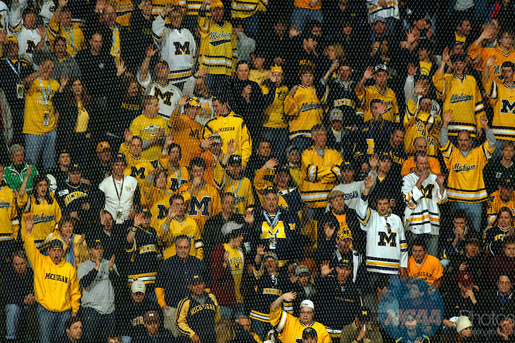 10 APR 2008:  The University of Michigan takes on Notre Dame during the Division I Men's Ice Hockey Semifinals held at the Pepsi Center in Denver, CO.  Jamie Schwaberow/NCAA Photos