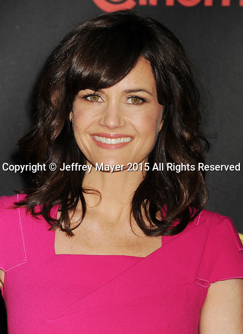 LAS VEGAS, CA - APRIL 21: Actress Carla Gugino arrives at Warner Bros. Pictures Invites You to ?The Big Picture at The Colosseum at Caesars Palace during CinemaCon, the official convention of the National Association of Theatre Owners, on April 21, 2015 in Las Vegas, Nevada.