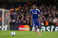 Baba Rahman of Chelsea looks for options during the UEFA Champions League match between Chelsea and Maccabi Tel Aviv at Stamford Bridge, London, England on 16 September 2015. Photo by Andy Rowland.