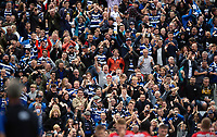 Bath Rugby supporters in the crowd celebrate a try. Gallagher Premiership match, between Bath Rugby and Gloucester Rugby on September 8, 2018 at the Recreation Ground in Bath, England. Photo by: Patrick Khachfe / Onside Images
