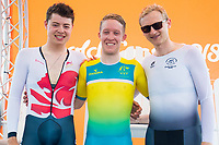 Commonwealth Games - Road Cycling: Time Trial - Currumbin Beachfront, Gold Coast, Australia - Men's Individual Time Trial, Gold - Australia's Cameron Meyer, Silver - England's Harry Tanfield, Bronze - New Zealand's Hamish Bond. 10 April 2018. Picture by Alex Whitehead / www.photosport.nz /SWpix.com /SWpix.com