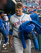 New York Mets relief pitcher Justin Wilson (38) leaves the dugout after giving up a walk-off home-run to Washington Nationals shortstop Trea Turner (7) at Nationals Park in Washington, DC on Sunday, March 31, 2018.  The Nationals won the game 6-5.<br /> Credit: Ron Sachs / CNP<br /> (RESTRICTION: NO New York or New Jersey Newspapers or newspapers within a 75 mile radius of New York City)