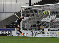 Leonardo Fasan unable to save the shot from Thomas Reilly in the St Mirren v Celtic Scottish Professional Football League Under 20 match played at St Mirren Park, Paisley on 30.4.14.