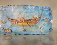 Roman Fresco with a boat decorated for a festival and marine life from the second quarter of the first century AD. (mosaico fauna marina da porto fluviale di san paolo), museo nazionale romano ( National Roman Museum), Rome, Italy. inv. 121462 .   Against an art background.<br /> The frescoes depict boats decorated as boats which went along the Tiber on festival days; their shape appears to be the caudicariae boats, used to transport merchandise. In the fresco fragment exhibited here (Ambiente E) the boat on the left depicts probably the group of 'side Serapide and Demetra on the stern, whereas the one on the right presents a crowned character on the bow and, on the stern, a feminine figure fluctuating in the air. Between the two boats, a young boy (a cupid or Palaimon-Portunus) rides a dolphin. All around are depicted several fish incredibly casting their shadows on the sea. The ichthyic fauna, lifeless as in still life decoration, is detailed as in a scientific catalogue. For the most part the represented species live next to the coast or were bred by the Romans in the piscinae salsac or in ponds. It is possible to recognize the rock mullet (mullus sunnuletus) and the mud one (mullus barbatu4 the scorpion fish (scorpoena) the dentex (dentex dentex), the aguglia (belone agus) the dolphin (delphinus delphis) and the golden mullet (lire curate).