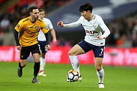 Son Heung-Min of Tottenham Hotspur and Robbie Willmott of Newport County during Tottenham Hotspur vs Newport County, Emirates FA Cup Football at Wembley Stadium on 7th February 2018
