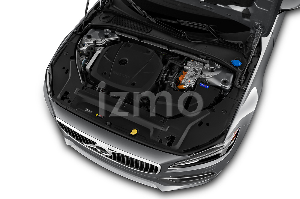 Car stock 2018 Volvo S90 Inscription PHEV T8 AWD 4 Door Sedan engine high angle detail view