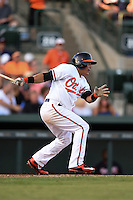 Baltimore Orioles Everth Cabrera during a Spring Training game against the Atlanta Braves on April 3, 2015 at Ed Smith Stadium in Sarasota, Florida.  Baltimore defeated Atlanta 3-2.  (Mike Janes/Four Seam Images)