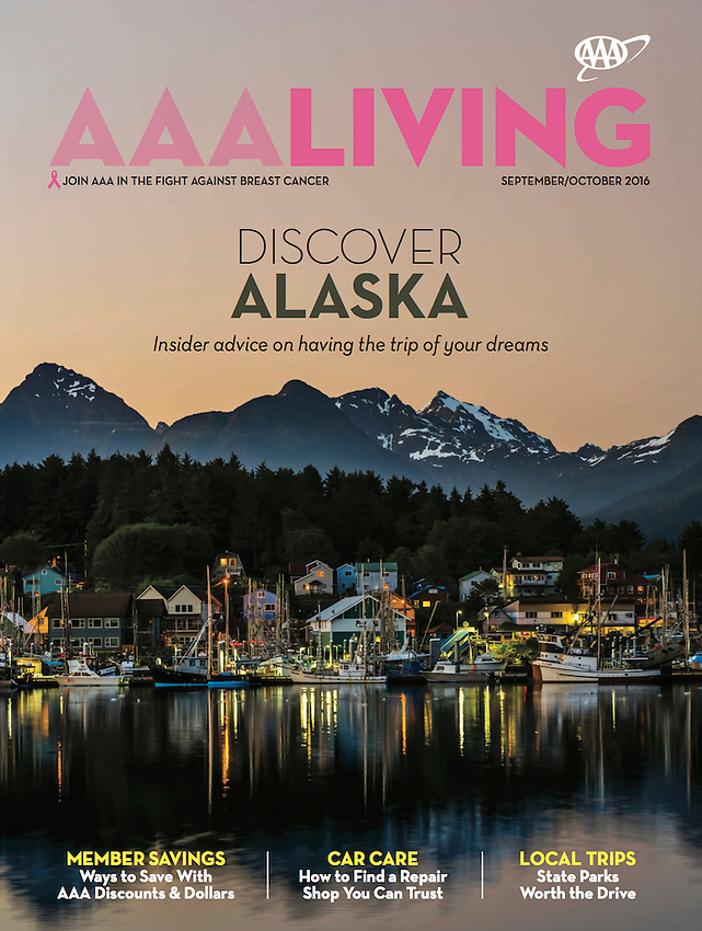 September/October 2016 cover of AAA Living Magazine of Sitka, Alaska by Blaine Harrington III.