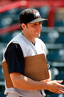 June 25, 2009:  Pitcher Daniel Moskos (41) of the Altoona Curve signs autographs before a game at Jerry Uht Park in Erie, PA.  The Altoona Curve are the Eastern League Double-A affiliate of the Pittsburgh Pirates.  Photo by:  Mike Janes/Four Seam Images