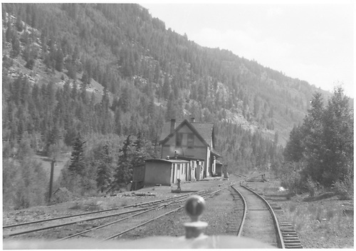 View down track through the windshield of an RGS Goose of Vance Junction section house and depot.<br /> RGS  Vance Junction, CO